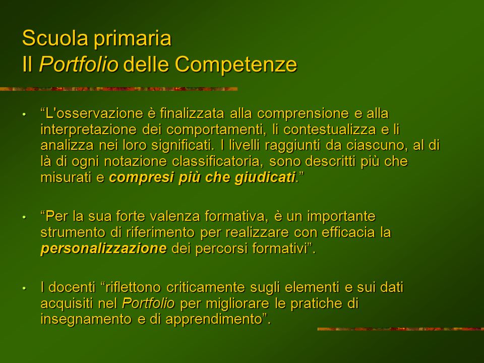 Scuola primaria Il Portfolio delle Competenze