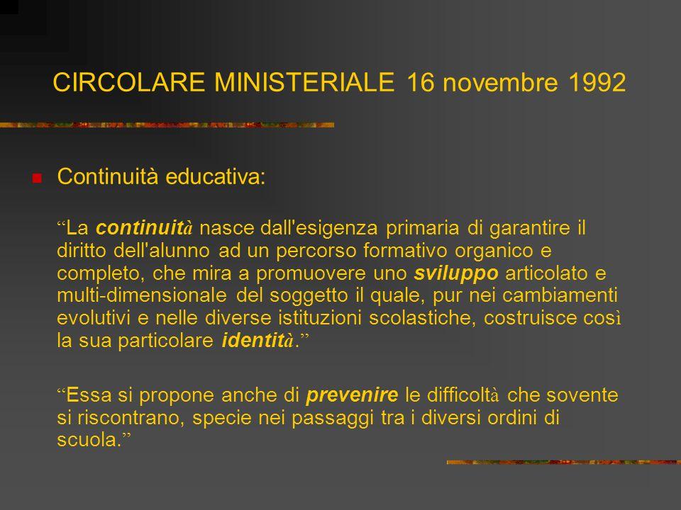 CIRCOLARE MINISTERIALE 16 novembre 1992