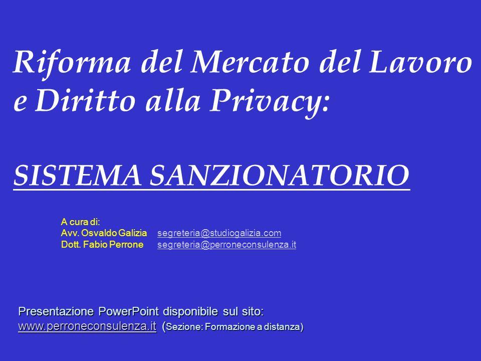 Riforma del Mercato del Lavoro e Diritto alla Privacy: