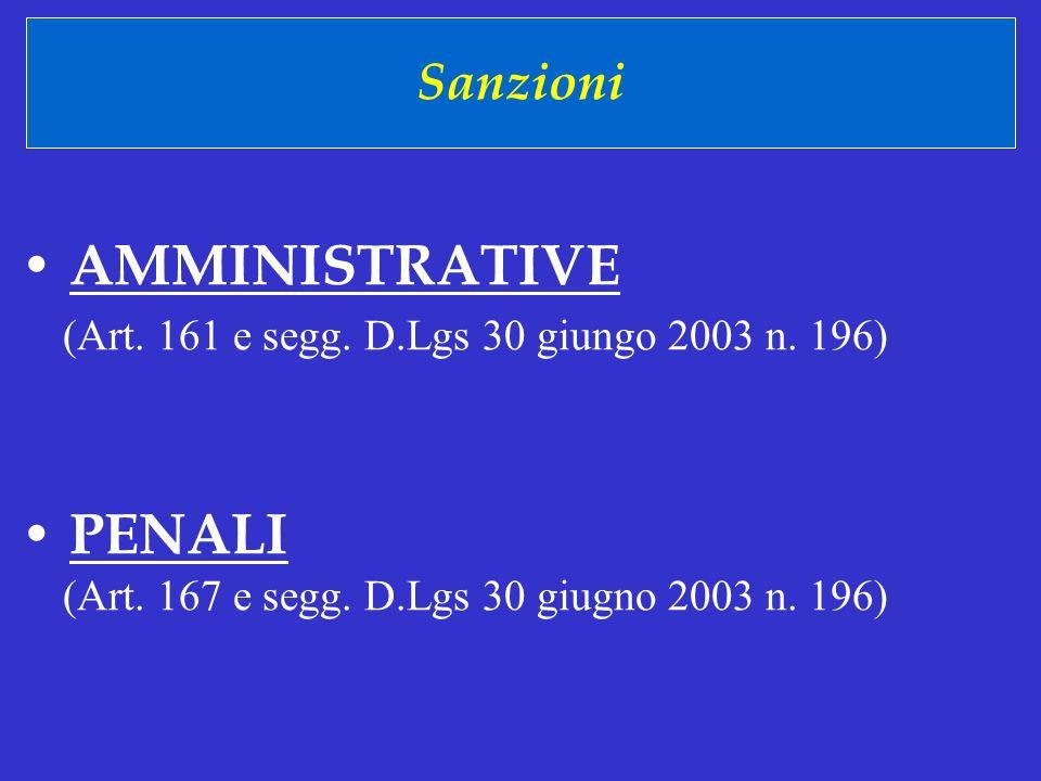 • AMMINISTRATIVE • PENALI Sanzioni