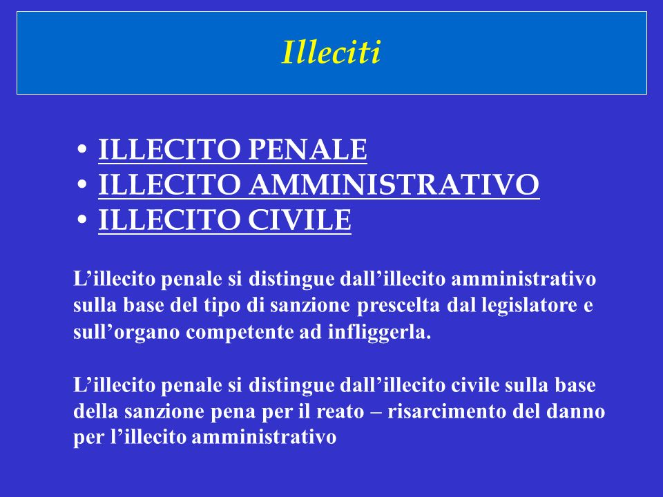 Illeciti • ILLECITO PENALE • ILLECITO AMMINISTRATIVO • ILLECITO CIVILE