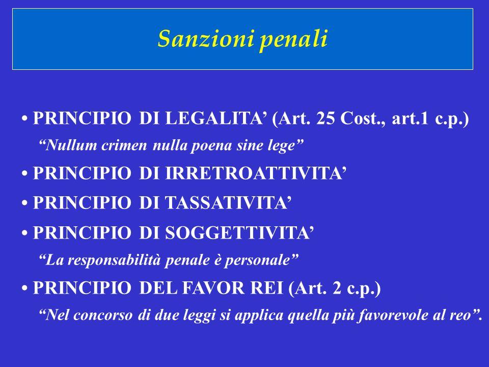 Sanzioni penali • PRINCIPIO DI LEGALITA' (Art. 25 Cost., art.1 c.p.)