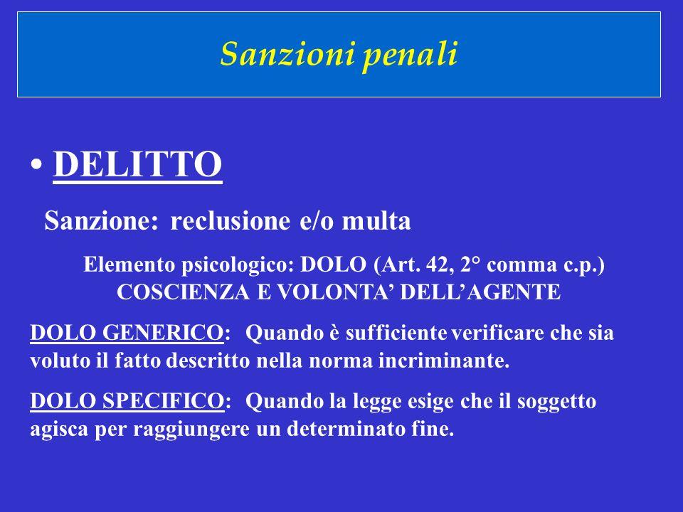 • DELITTO Sanzioni penali Sanzione: reclusione e/o multa