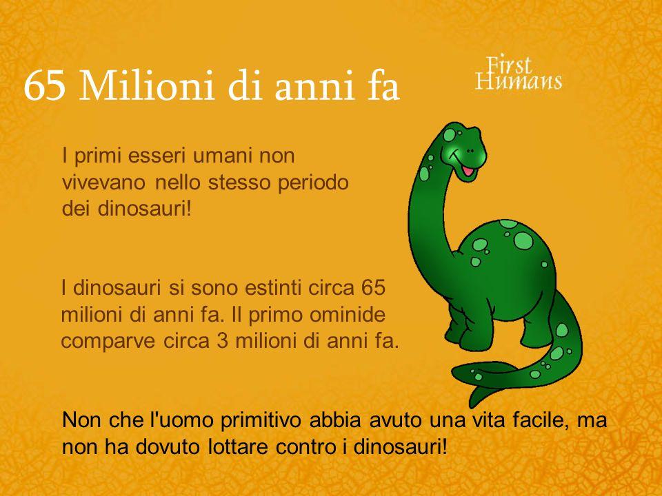 65 Milioni di anni faI primi esseri umani non vivevano nello stesso periodo dei dinosauri!