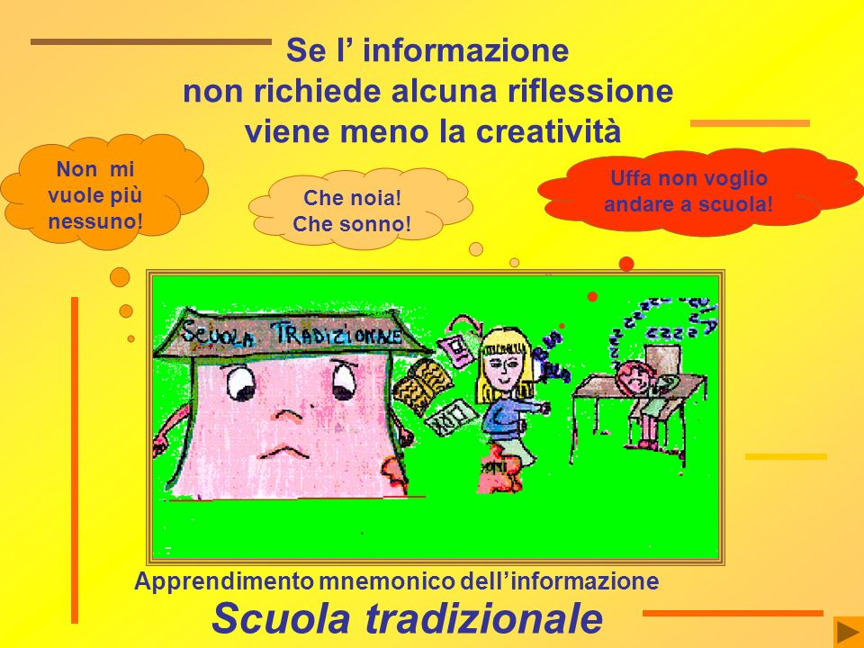 Scuola tradizionale Se l' informazione non richiede alcuna riflessione