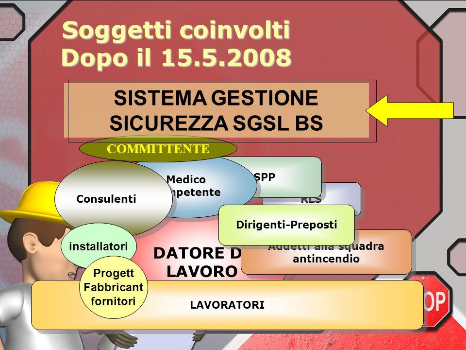 Soggetti coinvolti Dopo il 15.5.2008