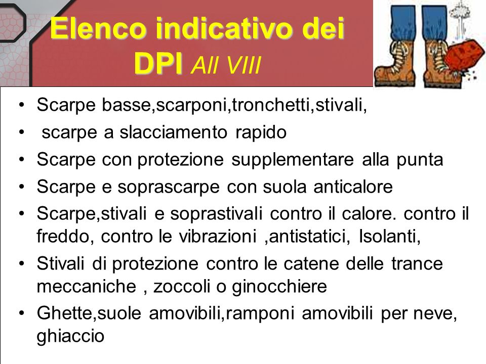 Elenco indicativo dei DPI All VIII