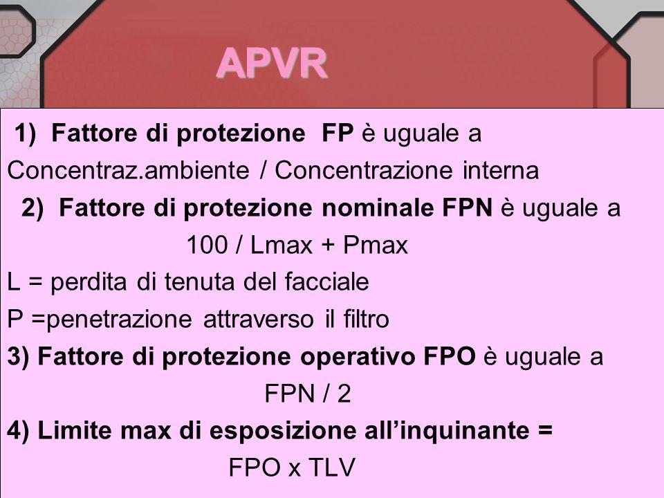 APVR 1) Fattore di protezione FP è uguale a