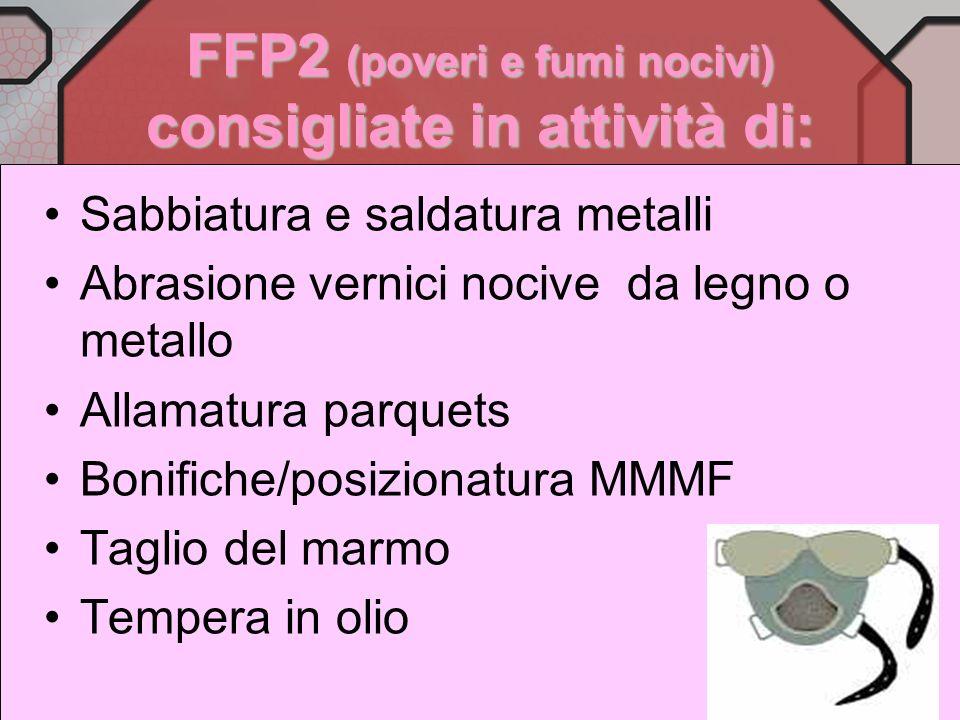 FFP2 (poveri e fumi nocivi) consigliate in attività di: