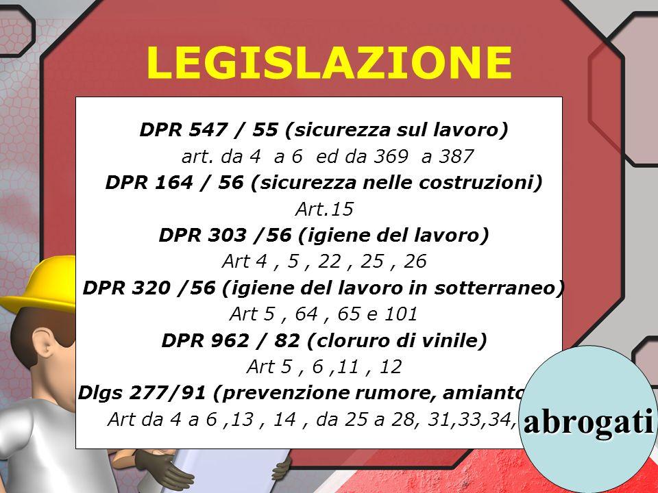 LEGISLAZIONE abrogati DPR 547 / 55 (sicurezza sul lavoro)