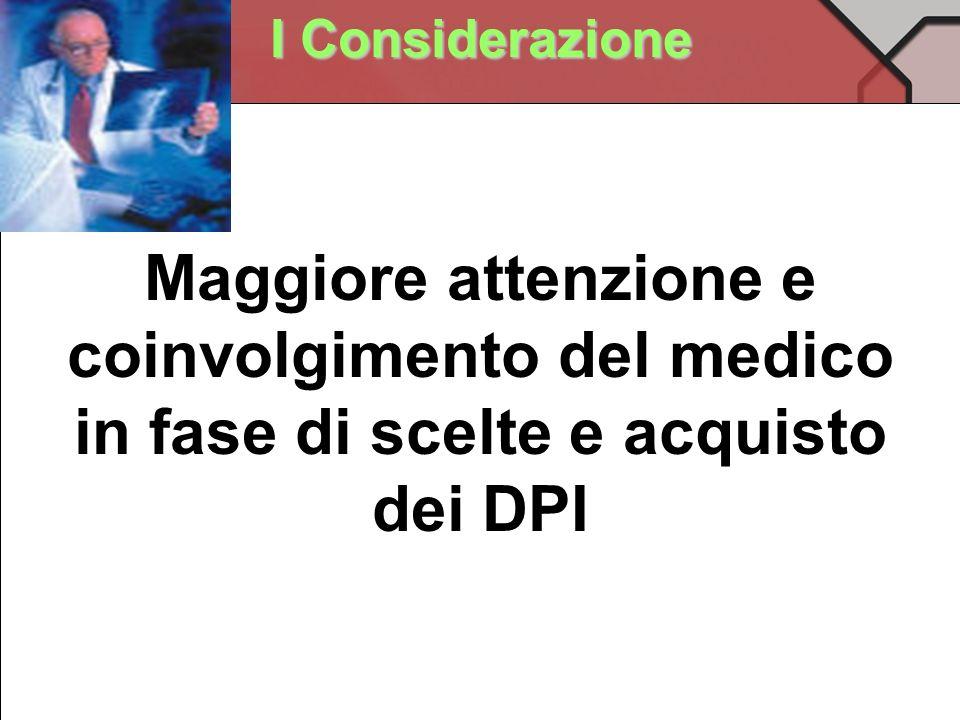 I Considerazione Maggiore attenzione e coinvolgimento del medico in fase di scelte e acquisto dei DPI.