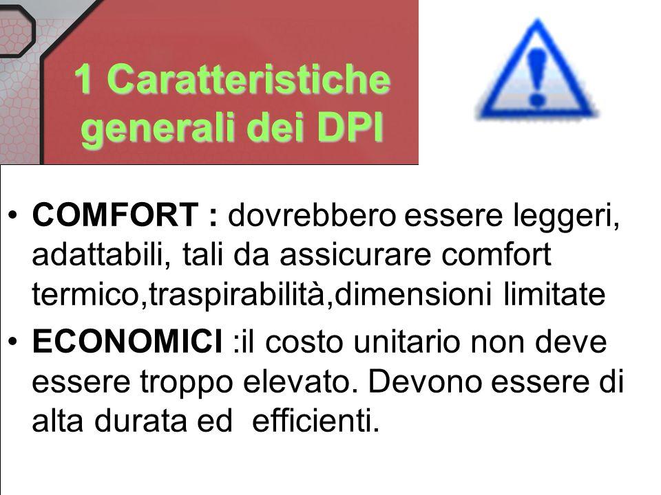 1 Caratteristiche generali dei DPI