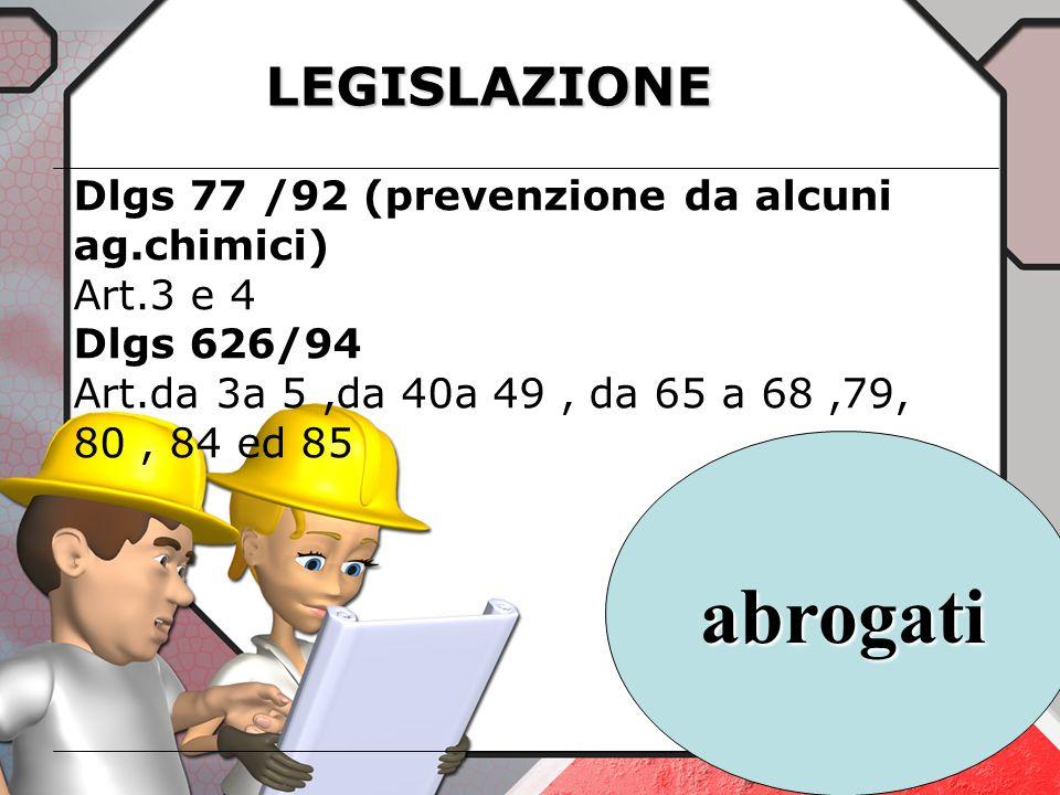 abrogati LEGISLAZIONE Dlgs 77 /92 (prevenzione da alcuni ag.chimici)
