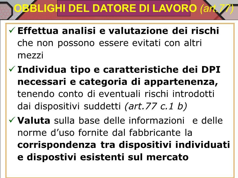 OBBLIGHI DEL DATORE DI LAVORO (art.77)
