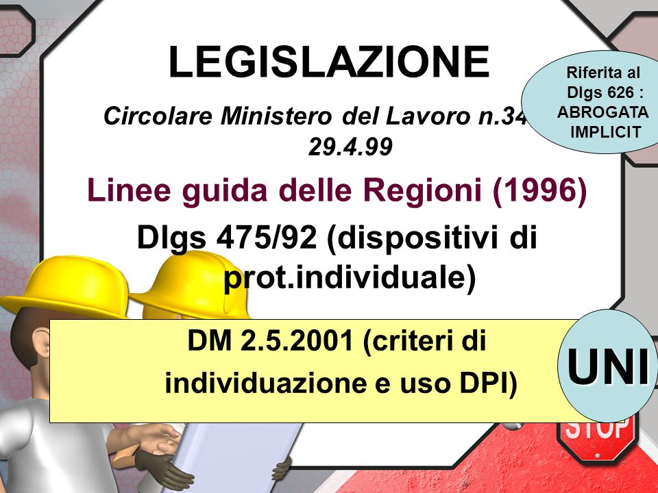UNI LEGISLAZIONE Linee guida delle Regioni (1996)