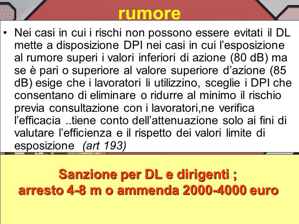 Sanzione per DL e dirigenti ; arresto 4-8 m o ammenda 2000-4000 euro