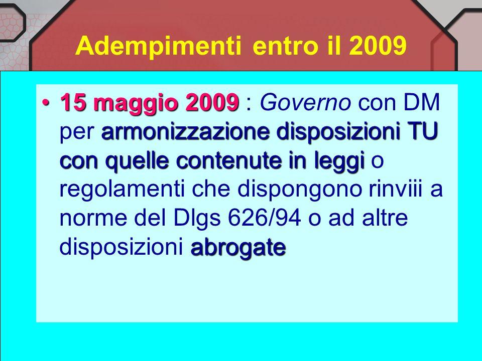 Adempimenti entro il 2009