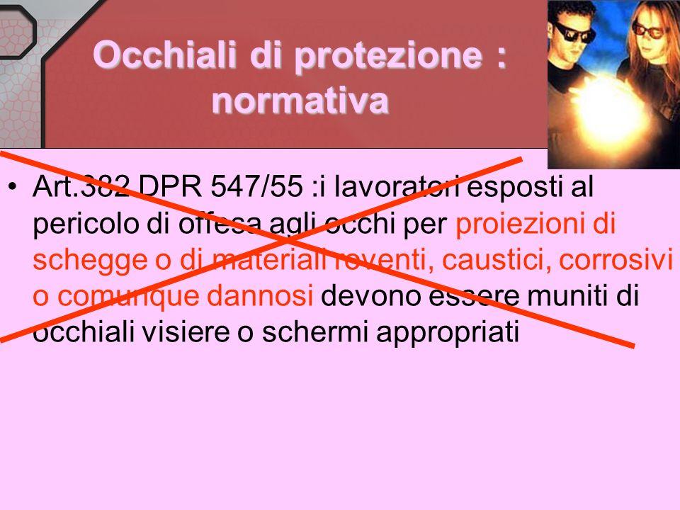 Occhiali di protezione : normativa