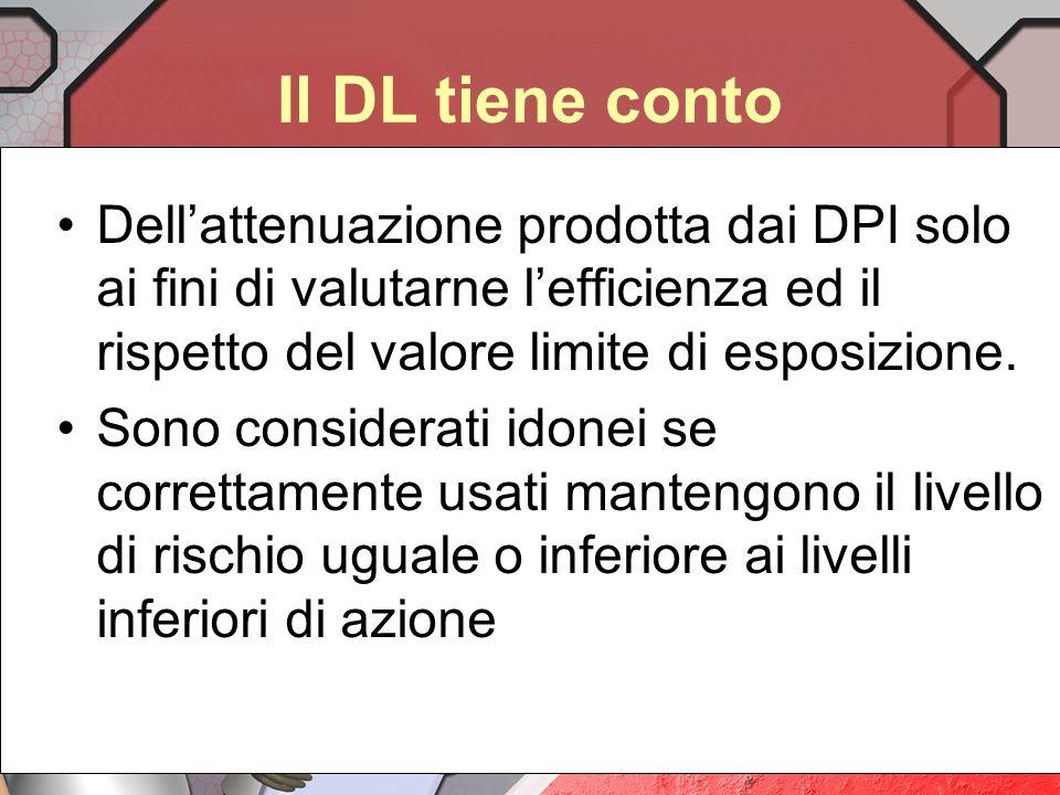 Il DL tiene conto Dell'attenuazione prodotta dai DPI solo ai fini di valutarne l'efficienza ed il rispetto del valore limite di esposizione.