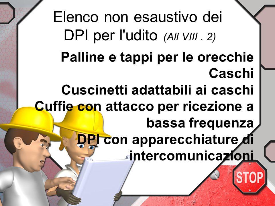 Elenco non esaustivo dei DPI per l udito (All VIII . 2)
