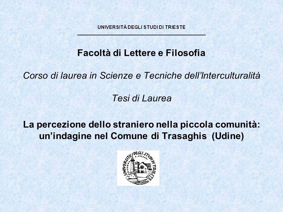 UNIVERSITÀ DEGLI STUDI DI TRIESTE _________________________________________________ Facoltà di Lettere e Filosofia Corso di laurea in Scienze e Tecniche dell'Interculturalità Tesi di Laurea La percezione dello straniero nella piccola comunità: un'indagine nel Comune di Trasaghis (Udine)