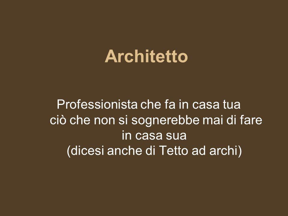 Architetto Professionista che fa in casa tua ciò che non si sognerebbe mai di fare in casa sua (dicesi anche di Tetto ad archi)