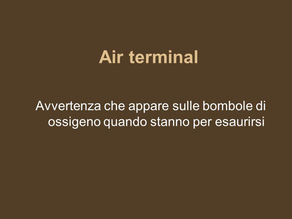 Air terminal Avvertenza che appare sulle bombole di ossigeno quando stanno per esaurirsi