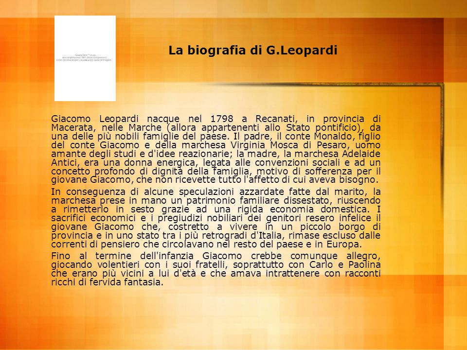 La biografia di G.Leopardi