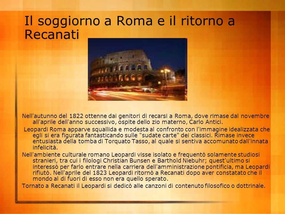 Il soggiorno a Roma e il ritorno a Recanati