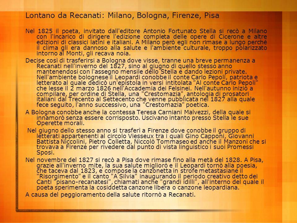 Lontano da Recanati: Milano, Bologna, Firenze, Pisa
