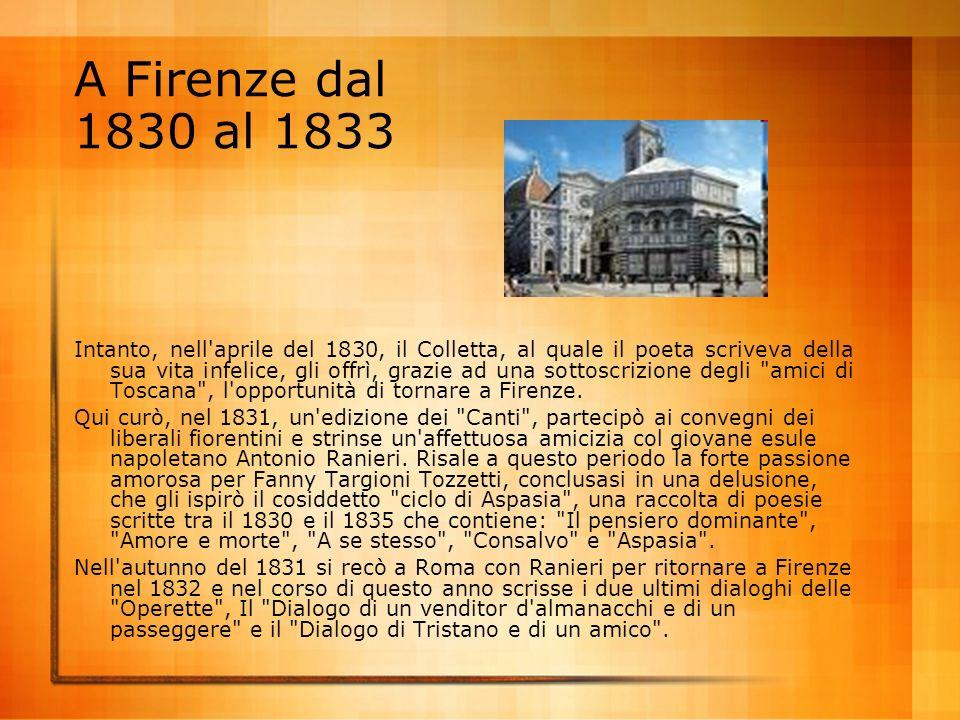 A Firenze dal 1830 al 1833
