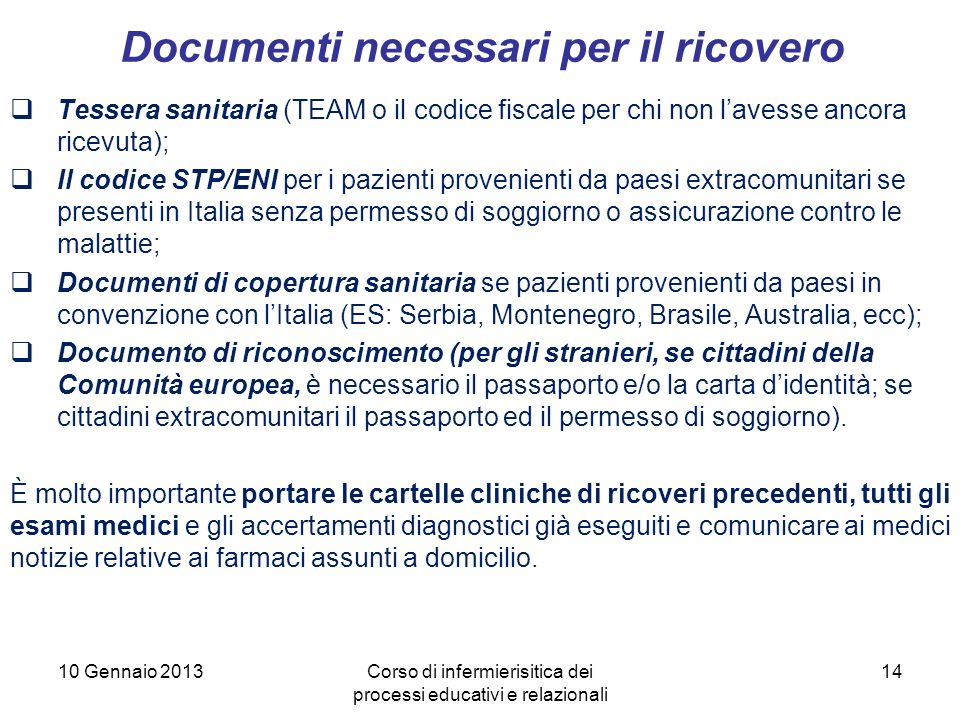 Documenti necessari per il ricovero