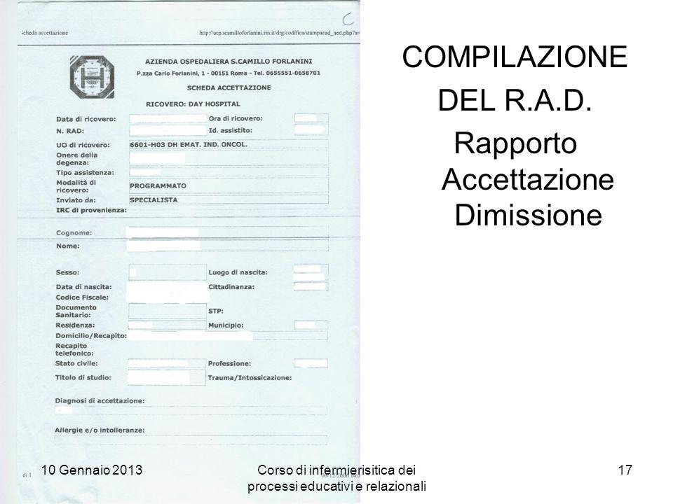 Rapporto Accettazione Dimissione