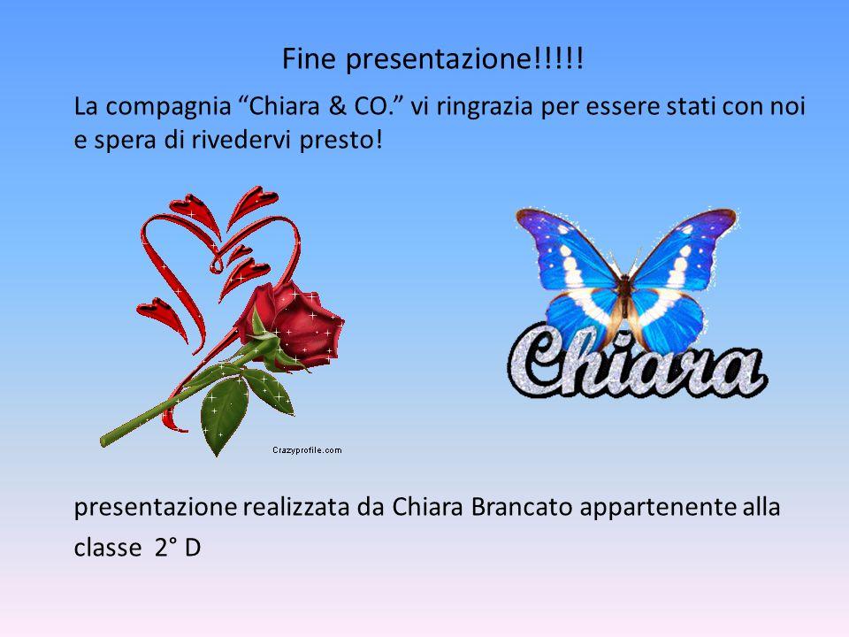 Fine presentazione!!!!! La compagnia Chiara & CO. vi ringrazia per essere stati con noi e spera di rivedervi presto!