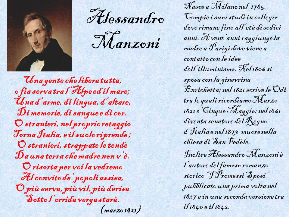 Alessandro Manzoni Una gente che libera tutta,