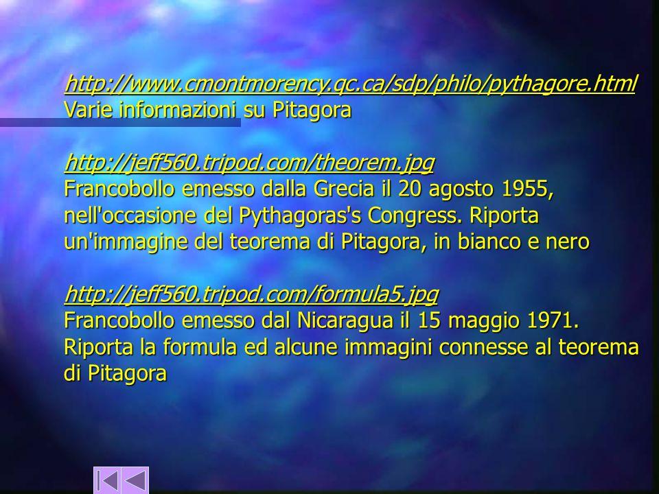 http://www.cmontmorency.qc.ca/sdp/philo/pythagore.html Varie informazioni su Pitagora. http://jeff560.tripod.com/theorem.jpg.