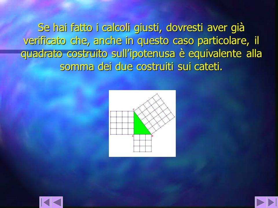 Se hai fatto i calcoli giusti, dovresti aver già verificato che, anche in questo caso particolare, il quadrato costruito sull'ipotenusa è equivalente alla somma dei due costruiti sui cateti.