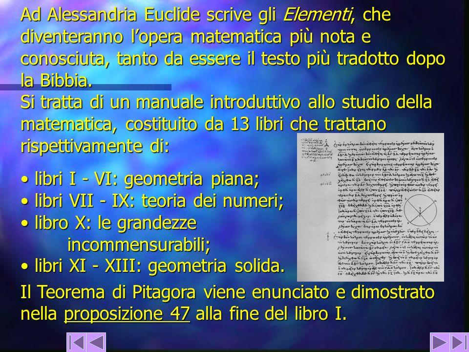 Ad Alessandria Euclide scrive gli Elementi, che diventeranno l'opera matematica più nota e conosciuta, tanto da essere il testo più tradotto dopo la Bibbia.