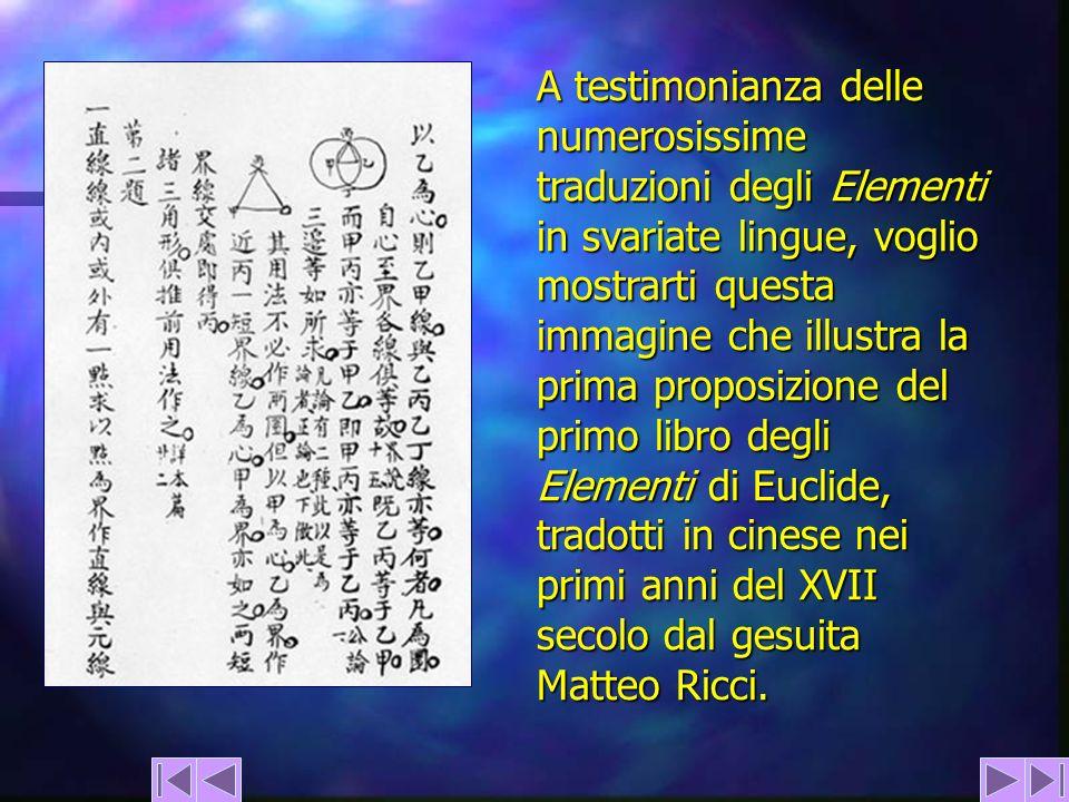 A testimonianza delle numerosissime traduzioni degli Elementi in svariate lingue, voglio mostrarti questa immagine che illustra la prima proposizione del primo libro degli Elementi di Euclide, tradotti in cinese nei primi anni del XVII secolo dal gesuita Matteo Ricci.