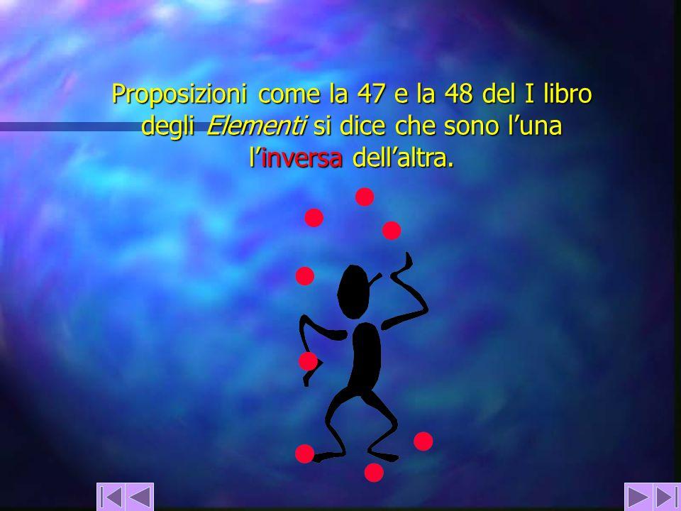 Proposizioni come la 47 e la 48 del I libro degli Elementi si dice che sono l'una l'inversa dell'altra.