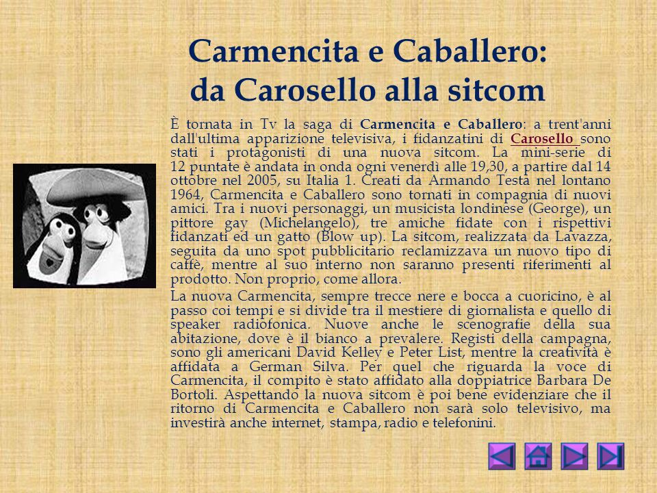 Carmencita e Caballero: da Carosello alla sitcom