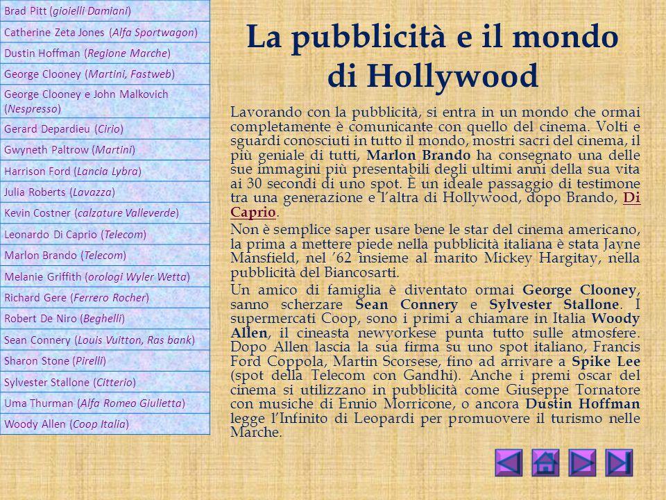 La pubblicità e il mondo di Hollywood