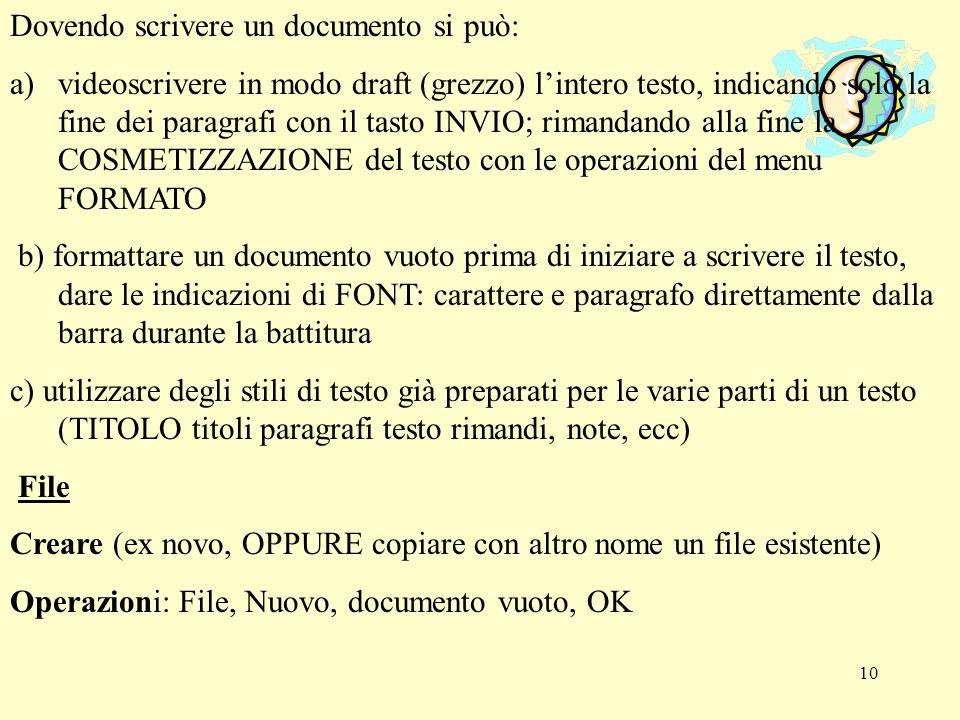 Dovendo scrivere un documento si può: