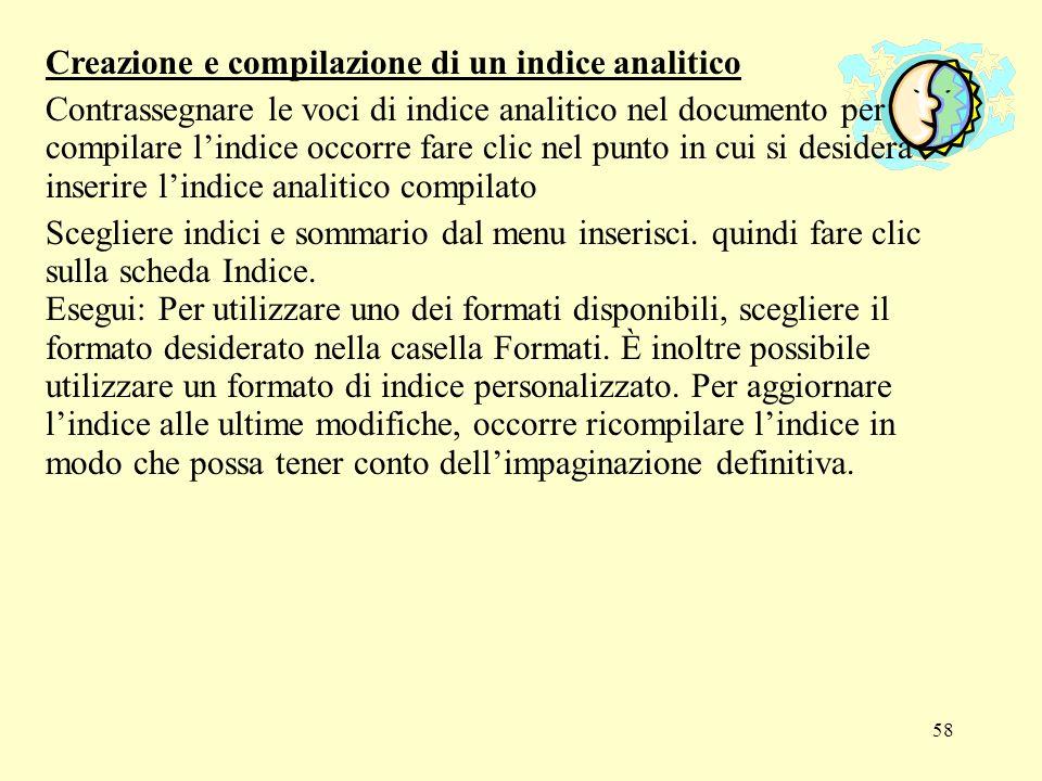 Creazione e compilazione di un indice analitico