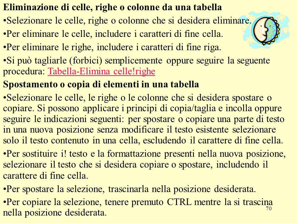 Eliminazione di celle, righe o colonne da una tabella