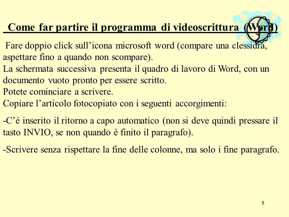 Come far partire il programma di videoscrittura (Word)