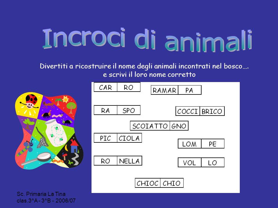 Incroci di animali Divertiti a ricostruire il nome degli animali incontrati nel bosco…. e scrivi il loro nome corretto.