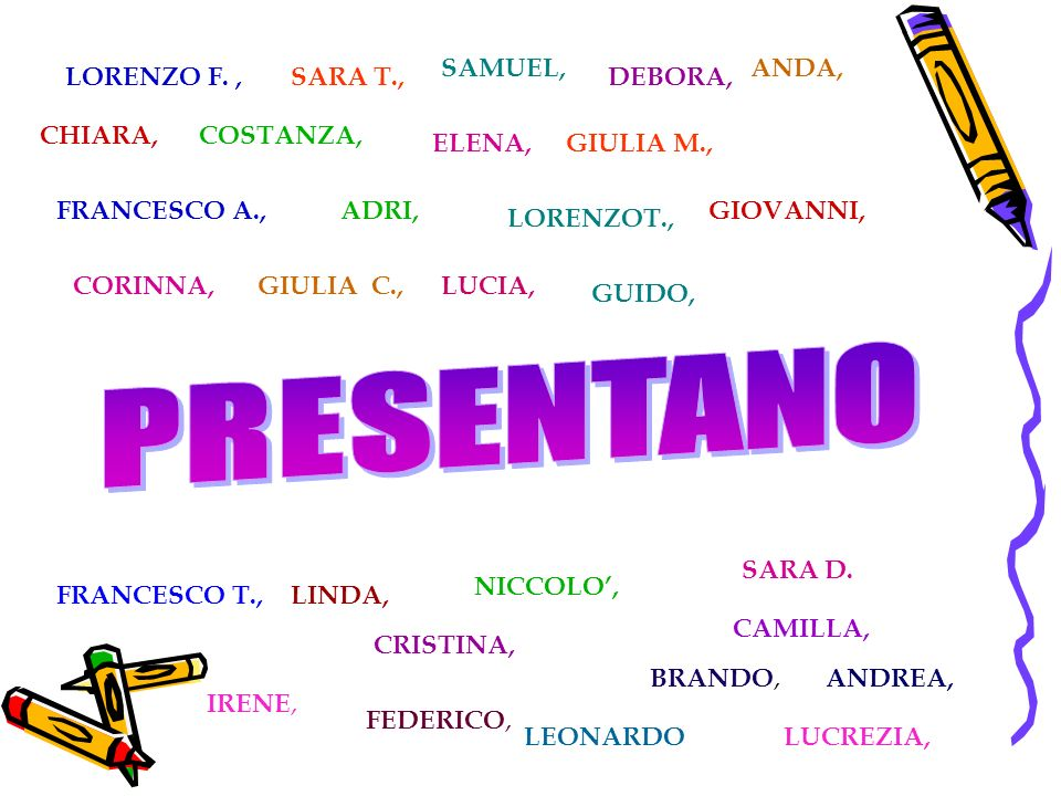 PRESENTANO SAMUEL, ANDA, LORENZO F. , SARA T., DEBORA, CHIARA,
