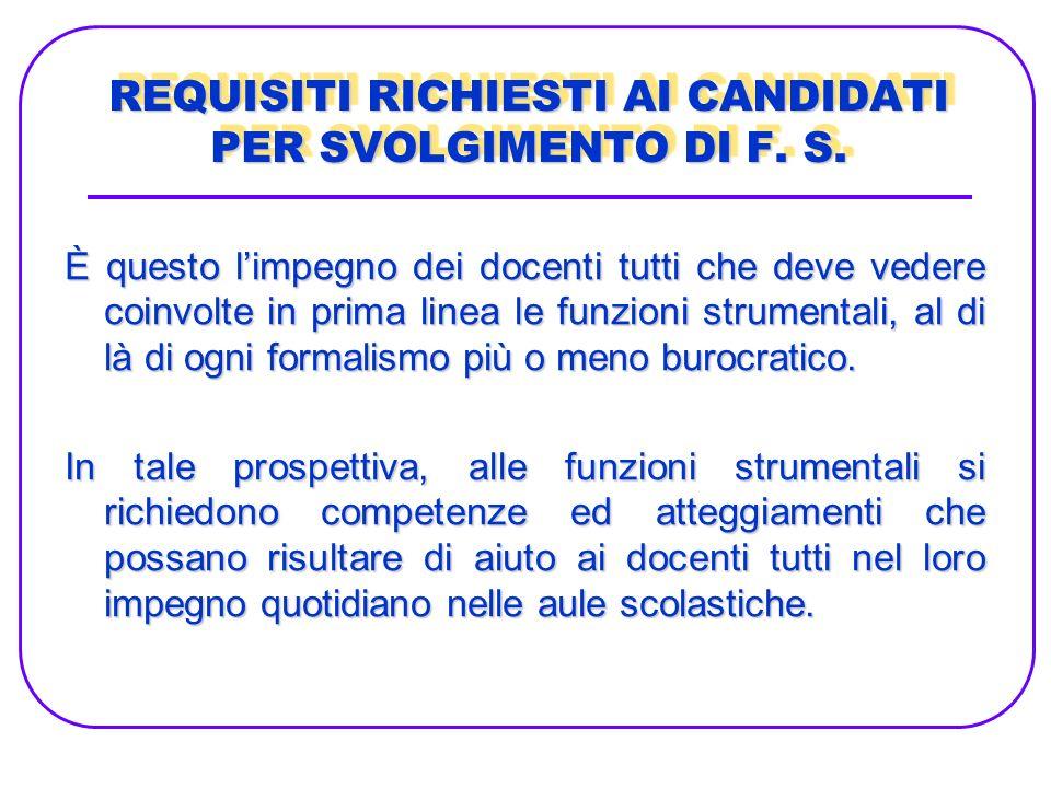 REQUISITI RICHIESTI AI CANDIDATI PER SVOLGIMENTO DI F. S.