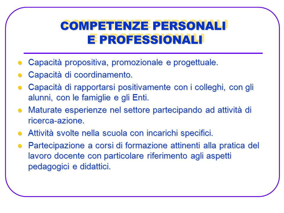 COMPETENZE PERSONALI E PROFESSIONALI